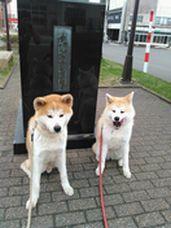 Eito-kun & Hina-chan at Hachi-ko statue.jpg